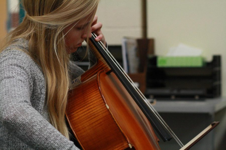Olivia+Strom+plays+the+cello+in+orchestra.+Photo+by+Yearbook+student%2C+Kate+McCrary.