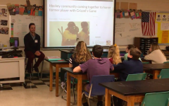 Tyler Thirlby shares his story with students at East Middle School.