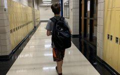 Wearing backpacks in school