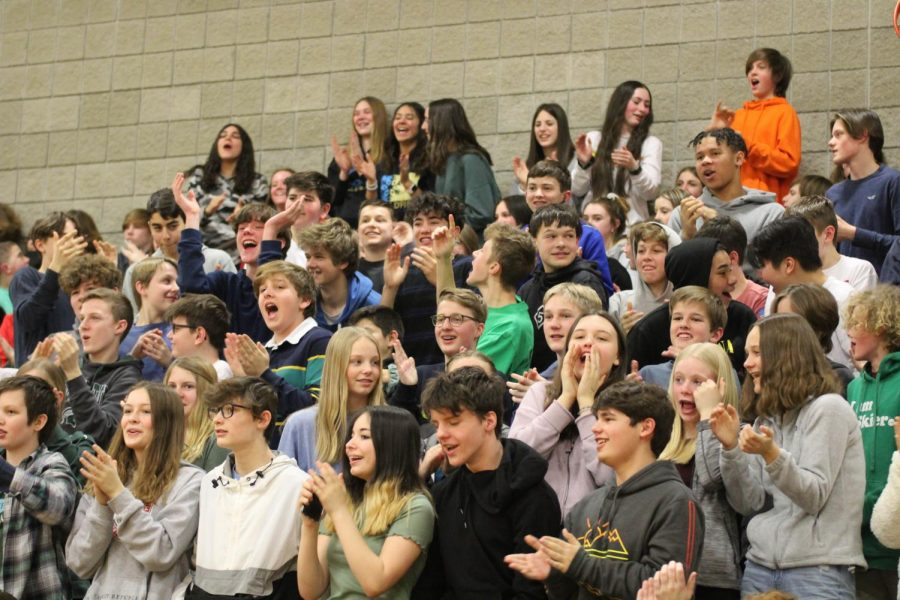 8th+graders+cheer+for+Randale+McCuin+as+he+performs+a+rap+in+the+talent+show.+